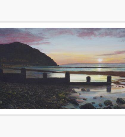 Penmaenmawr sunset Oil on Canvas Sticker
