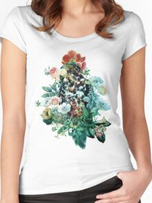 Bird in Flowers Women's Fitted Scoop T-Shirt