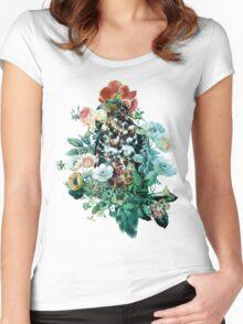 Bird in Flowers T-shirt femme moulant à col profond