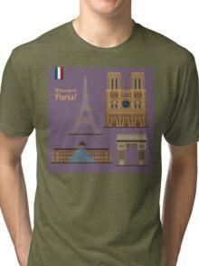 Paris Travel Set. Famous Places - Eiffel Tower, Louvre, Notre Dame, Arc of Triomphe Tri-blend T-Shirt