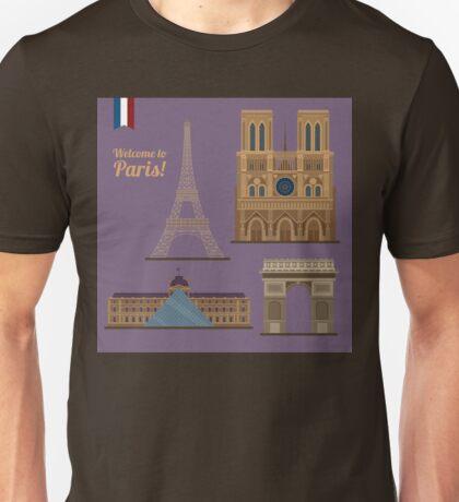 Paris Travel Set. Famous Places - Eiffel Tower, Louvre, Notre Dame, Arc of Triomphe Unisex T-Shirt