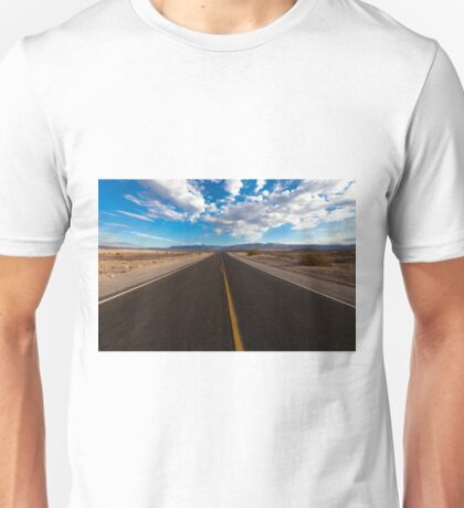 On the road landscape of the Death Valley Unisex T-Shirt