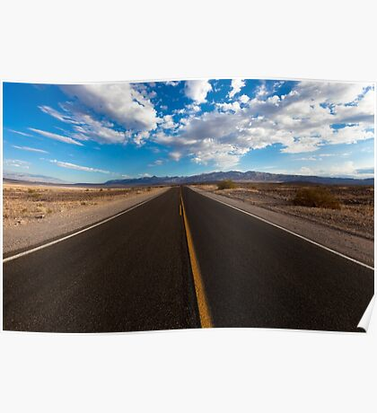 On the road landscape of the Death Valley Poster