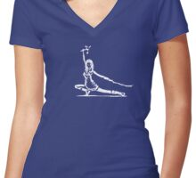 River Serenity white Women's Fitted V-Neck T-Shirt