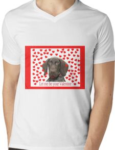 Glossy Grizzly Let me be your valentine Mens V-Neck T-Shirt