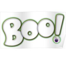 Cartoon Bold Hand Lettering 'Boo' Halloween Typography - with purple eyeball Poster