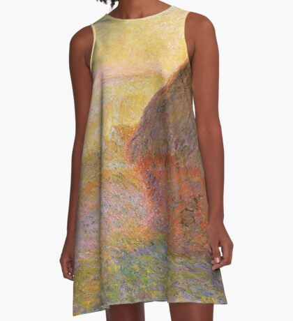 Haystacks, (Sunset) by Claude Monet A-Line Dress