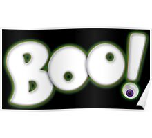 Cartoon Boo - Halloween Ghost Lettering with Bloodshot Eyeball Poster