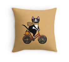 Cat on a Bicycle  Throw Pillow