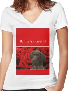 Glossy Grizzly Be my valentine Women's Fitted V-Neck T-Shirt