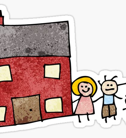 child's drawing of a family home Sticker