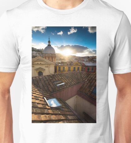 Panorama from the roofs of center of Naples Unisex T-Shirt
