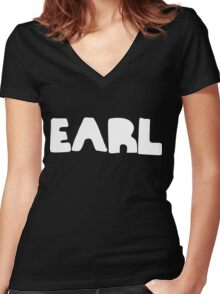 Earl White Ink Women's Fitted V-Neck T-Shirt