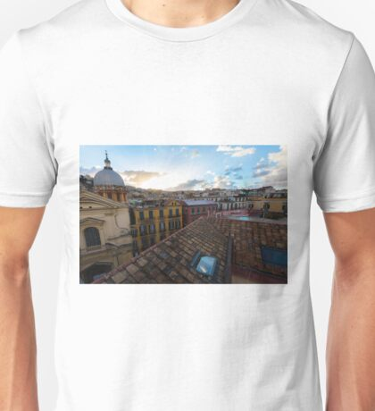 Panorama from the roofs of f Naples, Italy Unisex T-Shirt