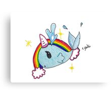Fanciful narwahl; unicorn of the sea Canvas Print