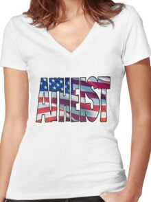 USA ATHEIST Women's Fitted V-Neck T-Shirt