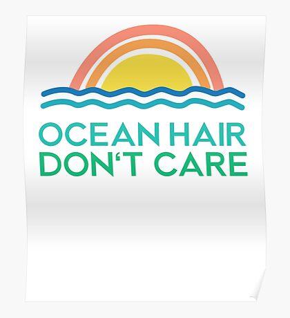 Ocean Hair Beach Lovers Surfers Beach Bums Graphic Tee Shirt Poster