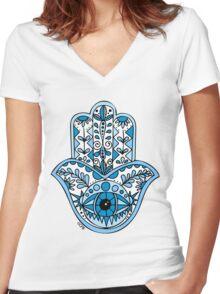 Blue Hamsa Women's Fitted V-Neck T-Shirt