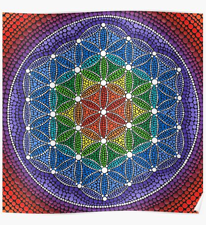 Rainbow Flower of Life Poster