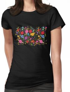 Colorful Flower Leaf Womens Fitted T-Shirt