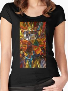 Psychedelic Stained Glass Women's Fitted Scoop T-Shirt