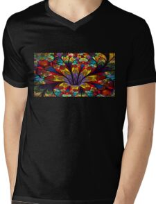 Stained Glass Bloom Mens V-Neck T-Shirt