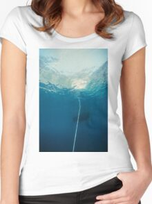 Underwater seascape of an hawser linked to anchor, mediterrean sea Women's Fitted Scoop T-Shirt