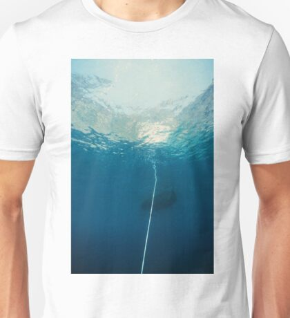 Underwater seascape of an hawser linked to anchor, mediterrean sea Unisex T-Shirt