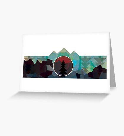 Moonset Mountains Greeting Card