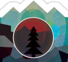 Moonset Mountains Sticker