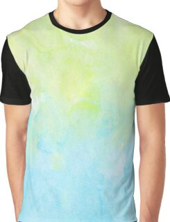 Watercolors - Pastel Blue & Yellow Graphic T-Shirt