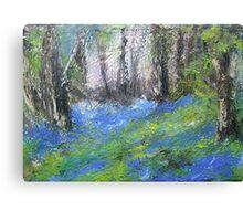 Bluebells English Woodland Landscape Acrylics On Canvas Canvas Print