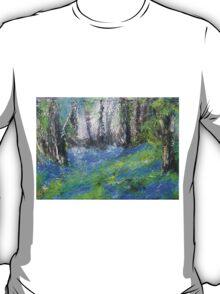 Bluebells English Woodland Landscape Acrylics On Canvas T-Shirt