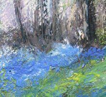 Bluebells English Woodland Landscape Acrylics On Canvas Sticker