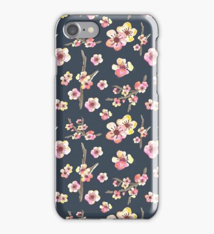 Navy Pink Cherry Blossoms iPhone Case/Skin
