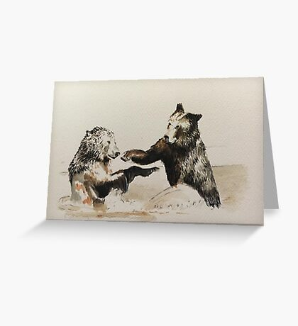 Bear Fight Greeting Card