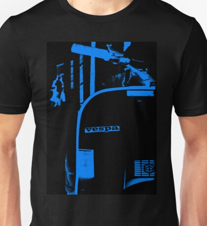 An old Vespa in Blue Unisex T-Shirt