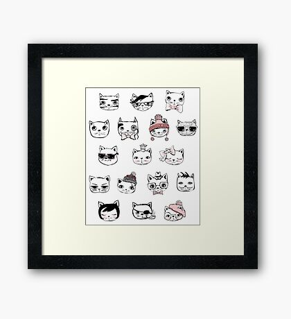 Hipster Cat Head Face Collage Kitty Kitten Cats Funny Weird Nerd Geek Cartoon Doodle Art Framed Print