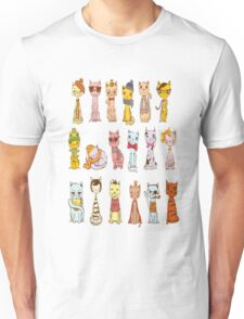 Hipster Cat Cute Collage Kitty Kitten Cats Funny Weird Nerd Geek Cartoon Doodle Art Unisex T-Shirt