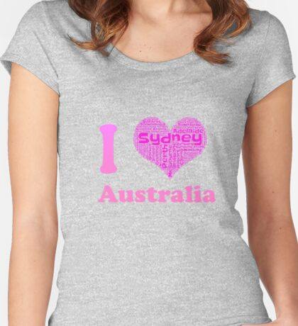 I Love Australia Shirt Heart Made Out Of Major Cities  Women's Fitted Scoop T-Shirt
