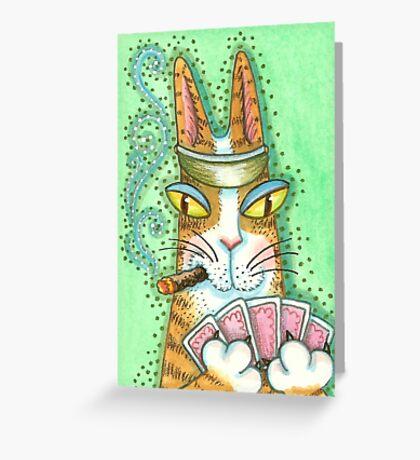 HISS N FITZ CAT POKER FACE Greeting Card