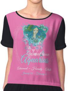 Aquarius Water Carrier Sign - Astrology Zodiac Shirts & Gear Chiffon Top