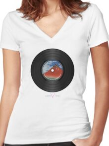 Red Fuji Vinyl Record Women's Fitted V-Neck T-Shirt