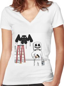 MARSHMELLO EDM MUSIC MELLOGANG Women's Fitted V-Neck T-Shirt