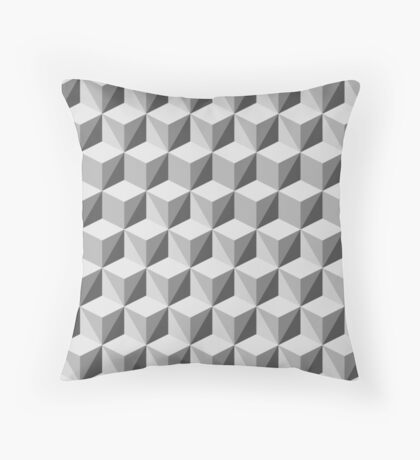 Black and White Geometry Cubes Throw Pillow