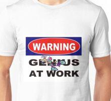 WARNING GENIUS AT WORK;Comical Print Unisex T-Shirt