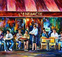 CAFE IN PARIS - Leonid Afremov by Leonid Afremov