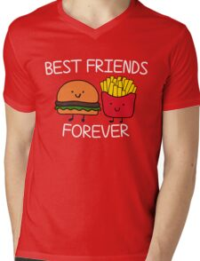 Best Friends Forever T-shirt Cool Hamburger and Fries Potatoes Emoticon Tshirt Mens V-Neck T-Shirt