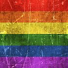 Vintage Aged and Scratched Rainbow Gay Pride Flag by Jeff Bartels