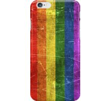 Vintage Aged and Scratched Rainbow Gay Pride Flag iPhone Case/Skin